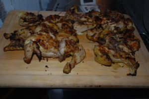 Ta da!! Grilled jerk cornish game hens- ready to eat and douse with your favorite hotsauce!!