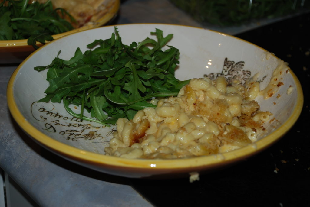 Lobster mac n' cheese with arugula