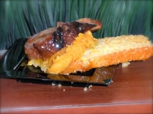 Roasted Duck with Sweet Potato Mash on Cornbread Crostini.