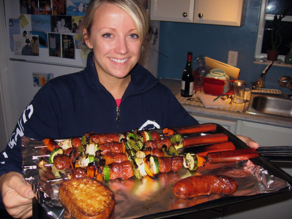 Italian Sausage Skewers brought to you by GrillGrrrl.