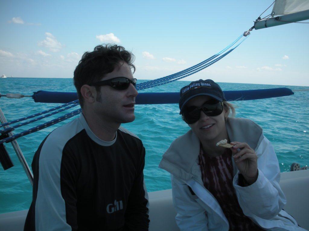 grillgirl, Robyn and Eric eating smoked fish dip, day sailing Biscayne Bay.