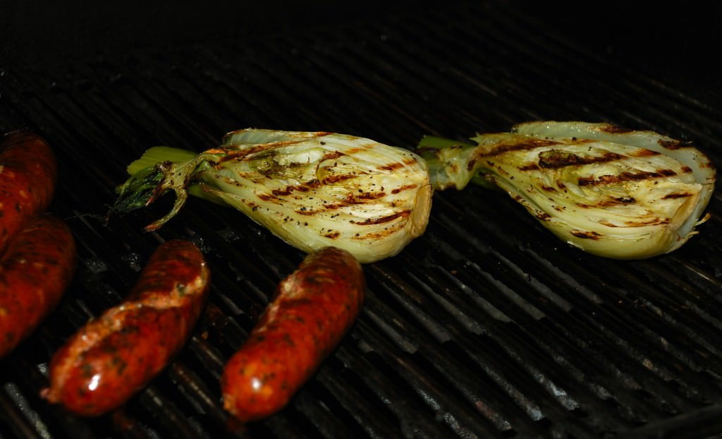 Italian sausage and fennel on the grill.