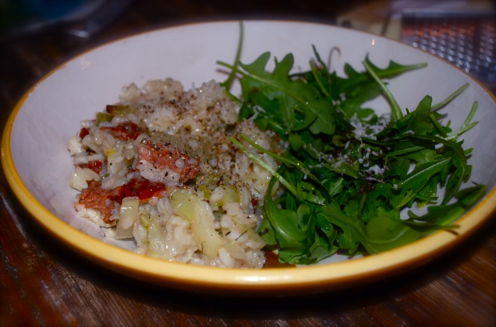 grill girl, grilled italian sausage and fennel risotto