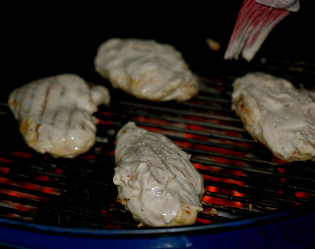After marinating the chicken in the white sauce, I also basted with the sauce while on the grill.