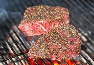 Seared peppercorn encrusted tuna steaks- yum! Quick and easy too!