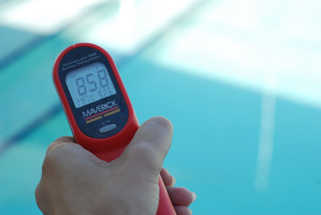 According to my Laser Thermometer, the pool is like bathwater this time of year.