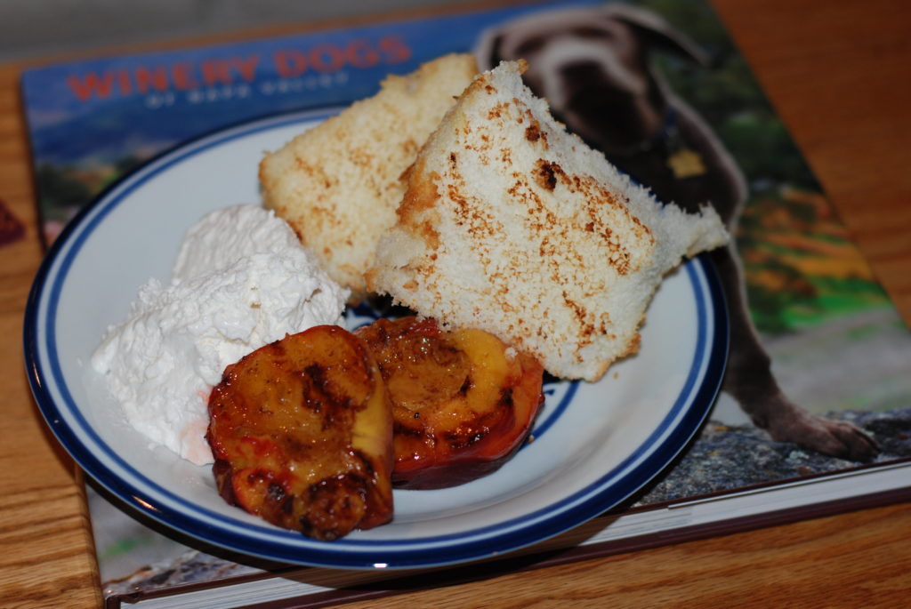 Grilled peaches and and pound cake or angel food cake- quick and easy dessert on the grill