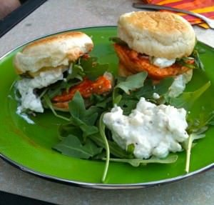 Scott's cool blue cheese dip is the perfect compliment to spicy buffalo sliders.