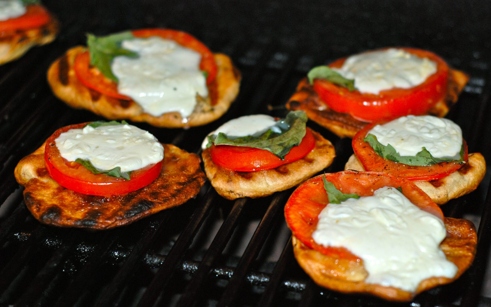 Grilled Mini Caprese Pizzas