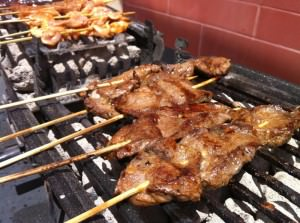 Chicken and Beef Satay on the Hibachi grill.