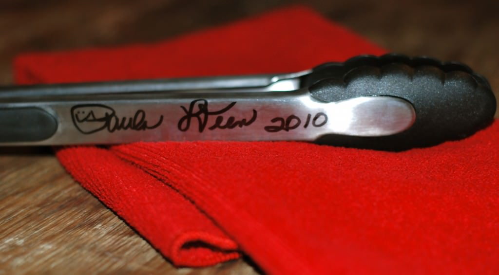 For good luck and good measure, I had Paula Deen sign my grilling tongs!