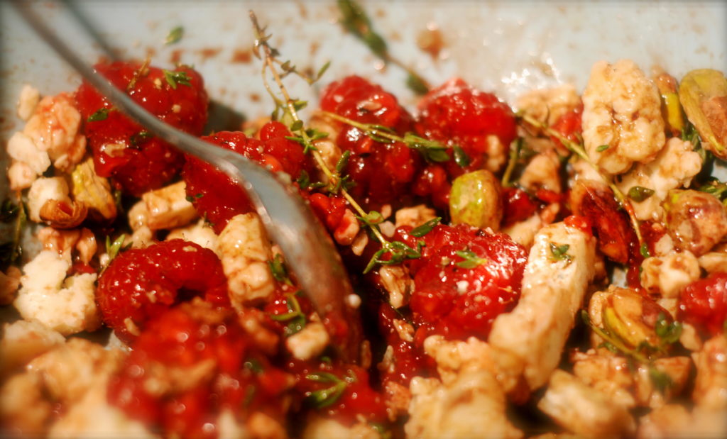 The raspberries, gorgonzola, thyme and pistachios make for a savory filling for the pork chops and zucchini rice boats.