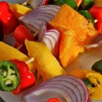 grill girl, salsa skewers, grilled vegetable salsa with mango and avocado