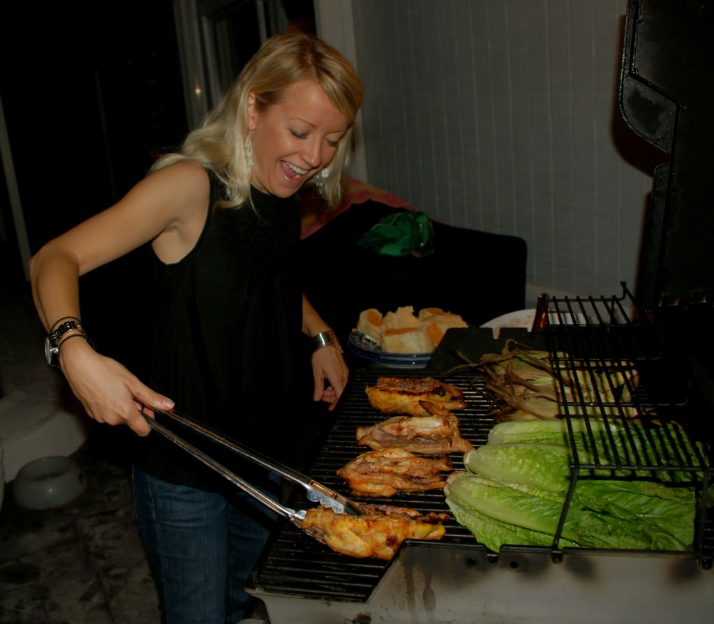 "Grilling Jerkerd Cornish Game Hens, Romaine and Texas Toast = ""Meal on the Grill""."