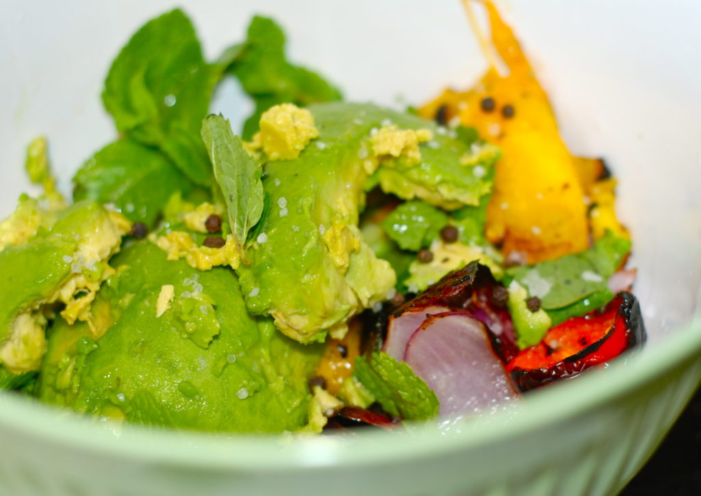 Throwing the grilled ingredients in with the avocado and mint= perfection!