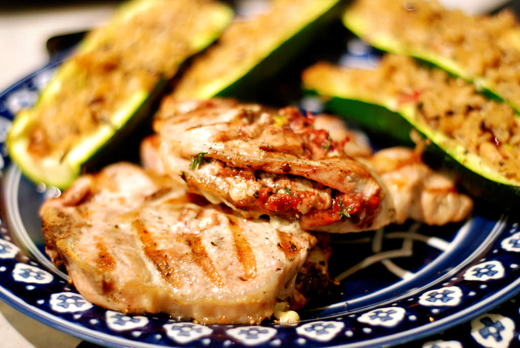 September Ingredient Challenge: Raspberry Gorgonzola Stuffed Pork Chops with Zucchini-Rice Boats
