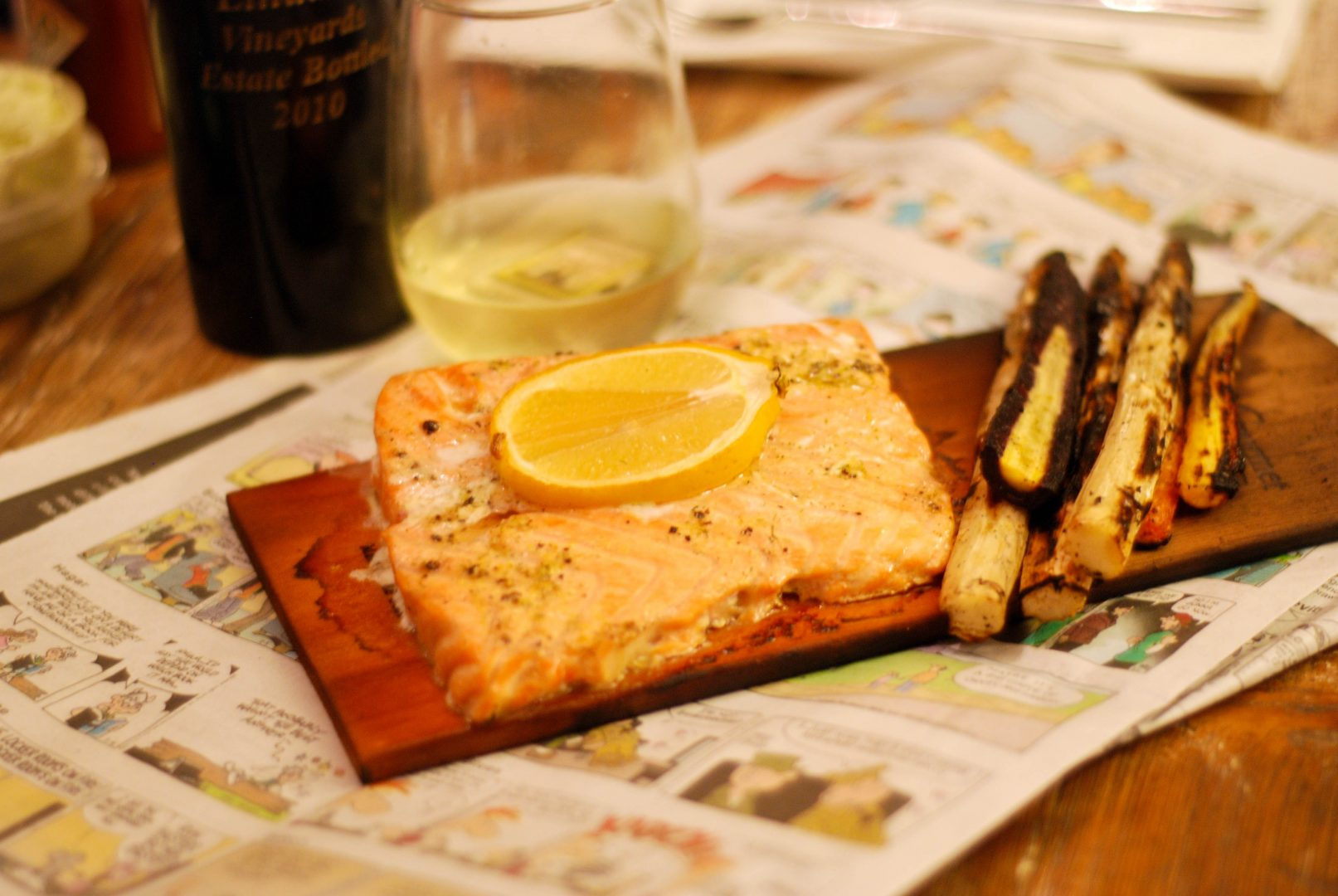 Cedar Planked Salmon with Lemon-Dill Butter and Grilled Rainbow Carrots