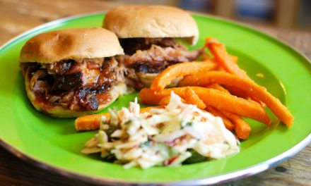 Smoked Pork Butt on the Big Green Egg = Pulled Pork Sliders with Mango BBQ Sauce and Chipotle Cilantro Coleslaw