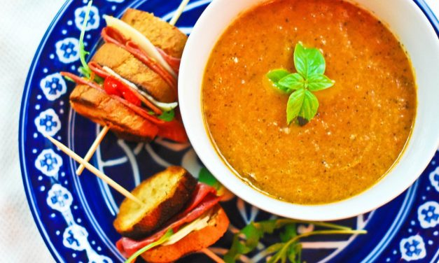 Fire Roasted Tomato Soup with Crostini Skewers