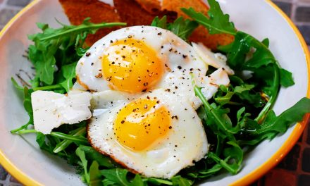 Breakfast Salad: Eggs Over Arugula with Shaved Parmesan
