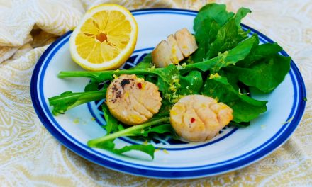 Guava Lime Scallops Grilled on a Himalayan Salt Plank