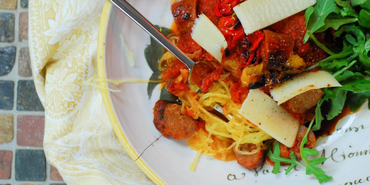 Low Carb Pasta: Spaghetti Squash with Grilled Italian Sausage and Peppers