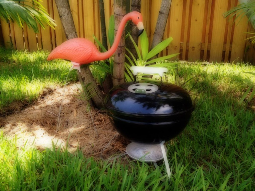weber smokey joe giveaway, charcoal grilling, pink flamingo