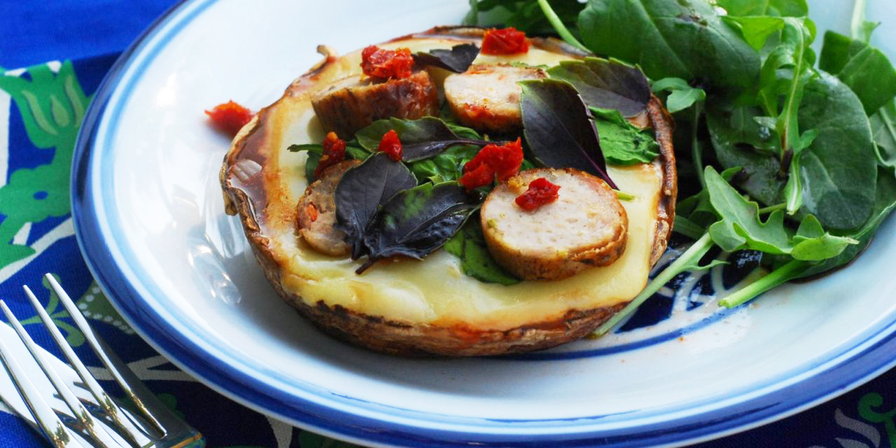 Grilled Portobello Pizzas with Chicken Sausage, Spinach and Sundried Tomatoes