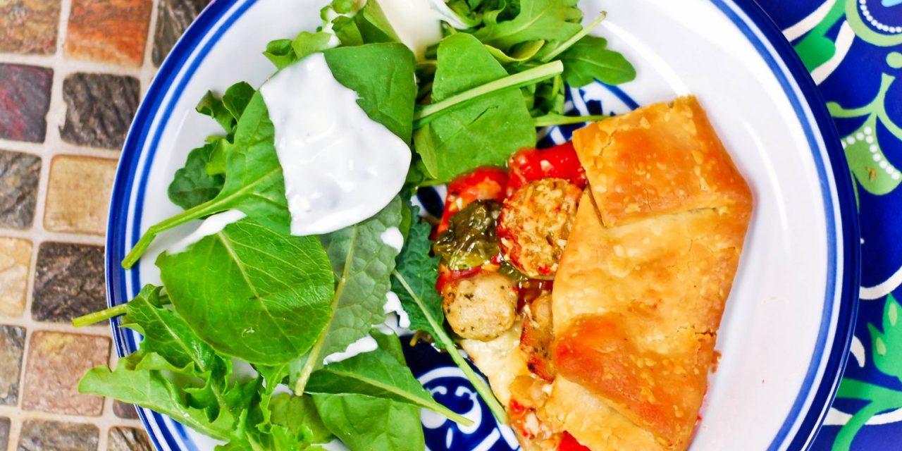 Heirloom Tomato, Chicken Sausage, Parmesan and Basil Tart