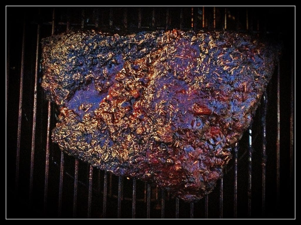 grill girl, brisket crisping, on the grill