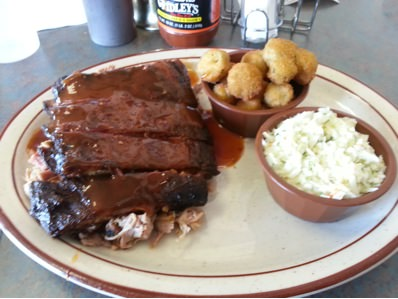 BBQ Sampler at Gridley's II in Bartlett, TN had ribs served on top of pulled pork and brisket. It was like digging for BBQ treasure.