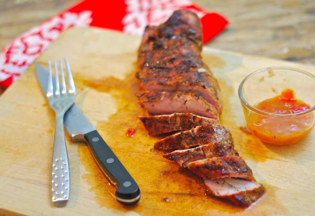 "Mango Ginger Chutney glaze makes for a sweet-spicy finish on this Pork Tenderloin that was cooked in an ""Island Spice"" Rub."