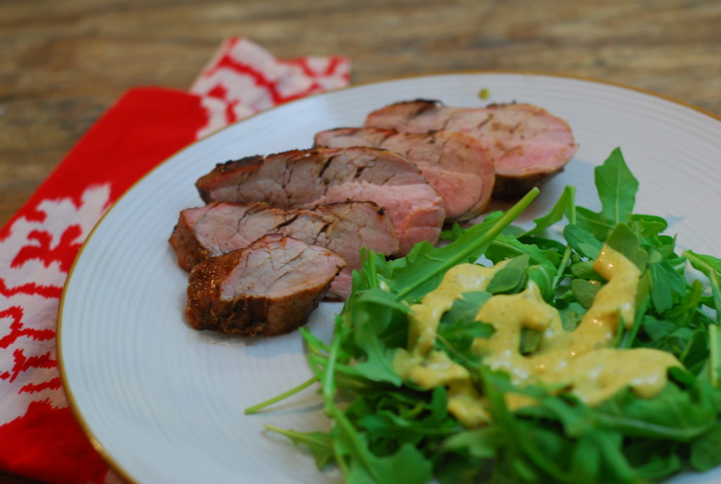 I created a curried ranch dressing to go on our salad with this pork tenderloin. Hubby had seconds! It was delish!