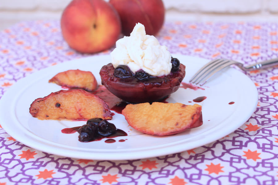 Wow your BBQ guests with this easy to make yet flavorful Peaches and Cream with Blueberry Sauce dessert. - Michelle Lara