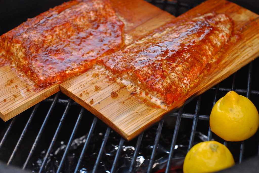 grill girl, how to make cedar planked salmon, big green egg