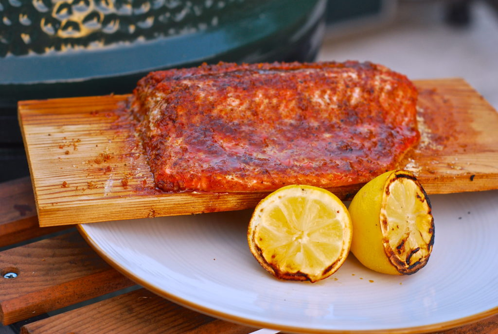 grill girl, cedar planked salmon, on the big green egg