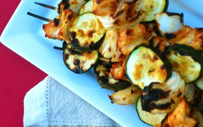 Thai Peanut Chicken, Vidalia Onion and Zucchini Skewers