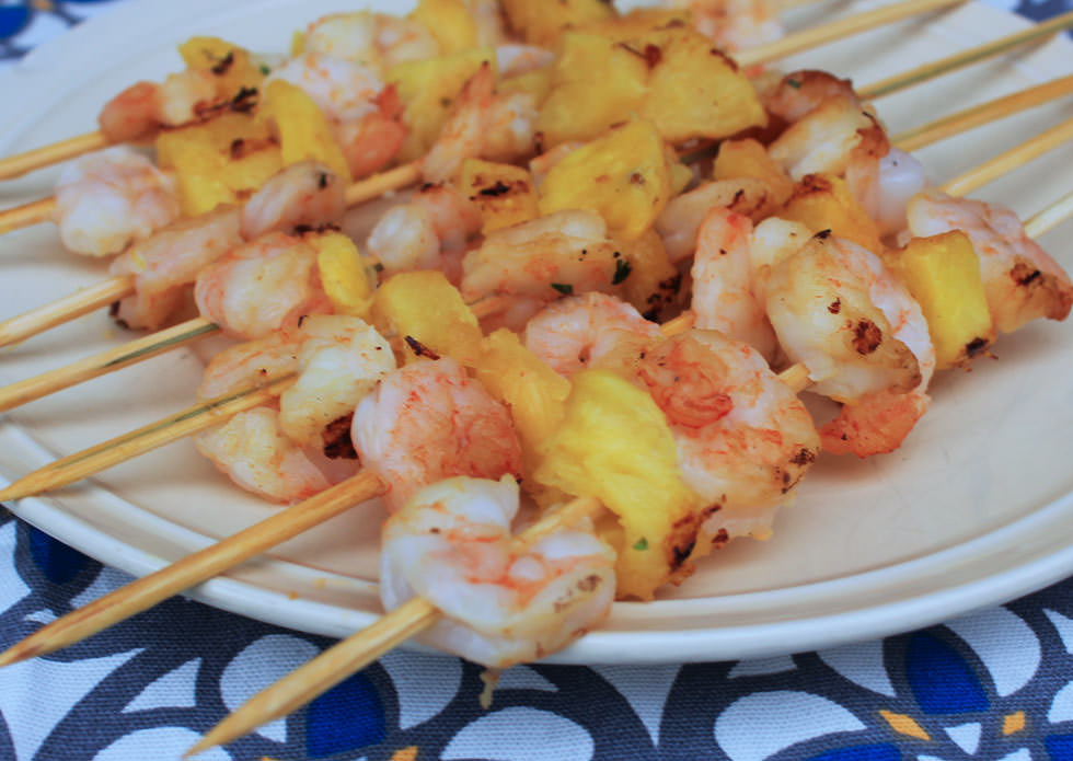 These shrimp and pineapple skewers are are a crowd-pleasing appetizer or a sweet and savory midweek dinner waiting to happen - Michelle Lara