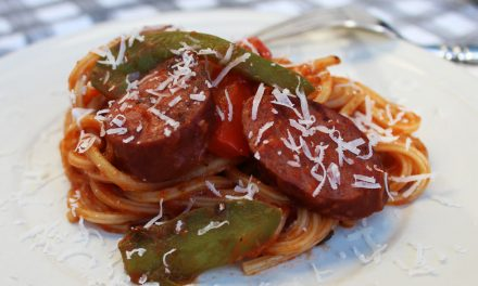 Grilled Turkey Kielbasa with Grilled Peppers and Spaghetti