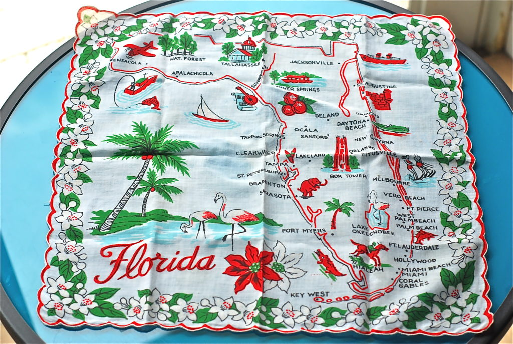 I found this cute vintage Florida Napkin on etsy.com that is perfect as a backdrop in photos. Love those flamingos too!