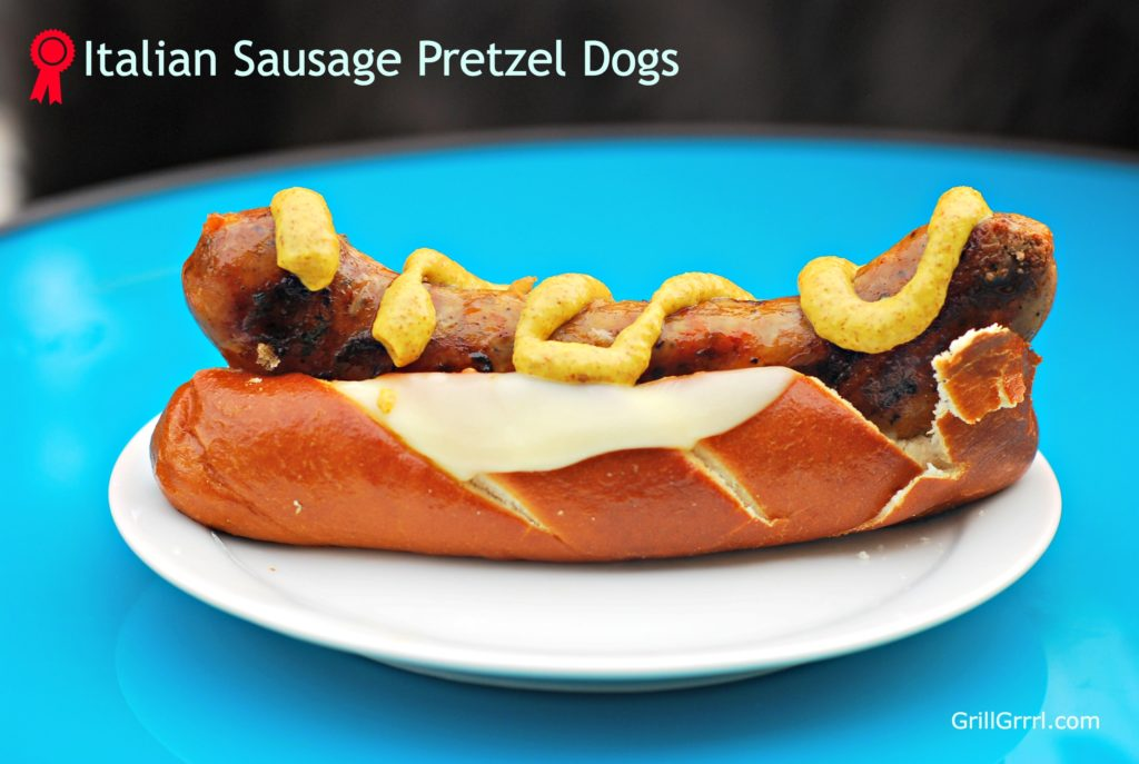 Grilled Italian Sausage + Provolone + Pretzel buns = Gourmet Tailgating fare.