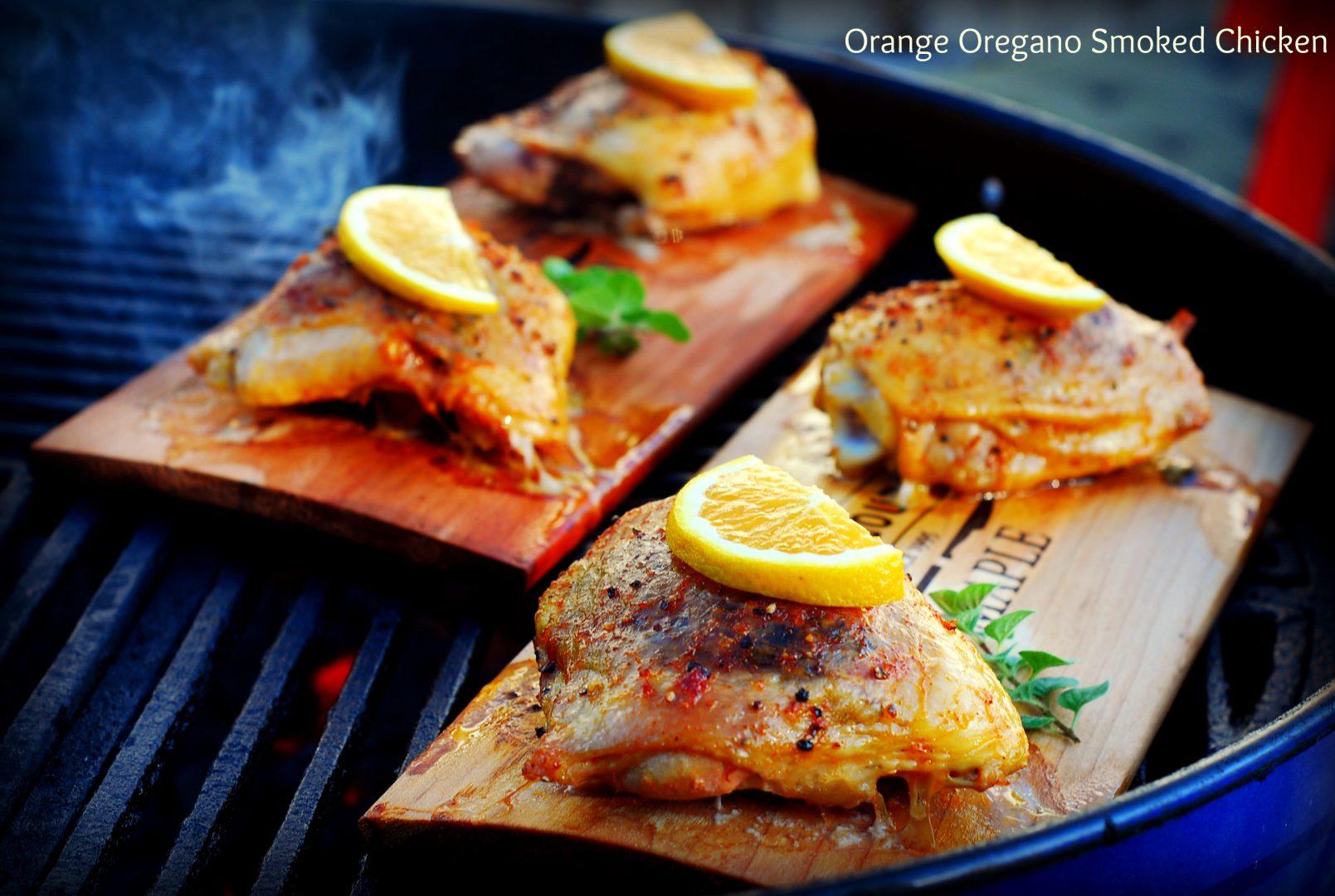 Orange Oregano Maple Smoked Chicken Thighs