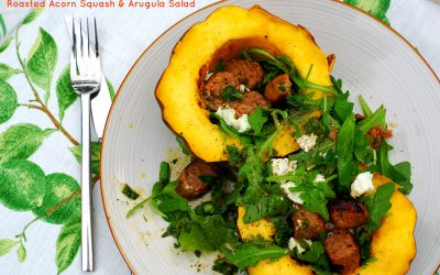 Roasted Acorn Squash & Arugula Salad With Goat Cheese and Italian Sausage (and My Cookbook Club Debut)