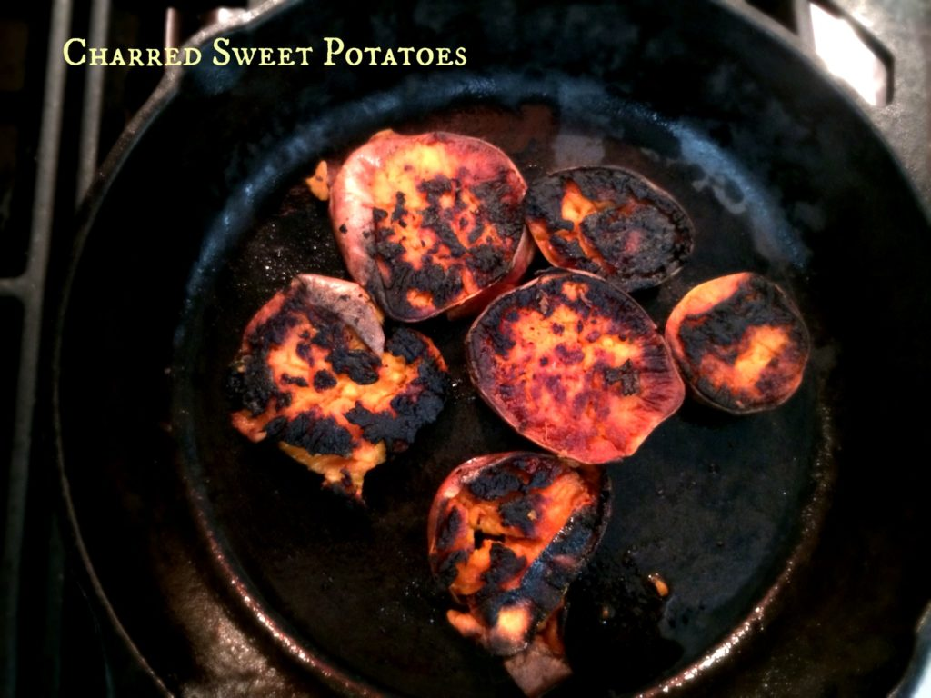 I'm in love with cast iron cooked sweet potatoes with crispy edges.