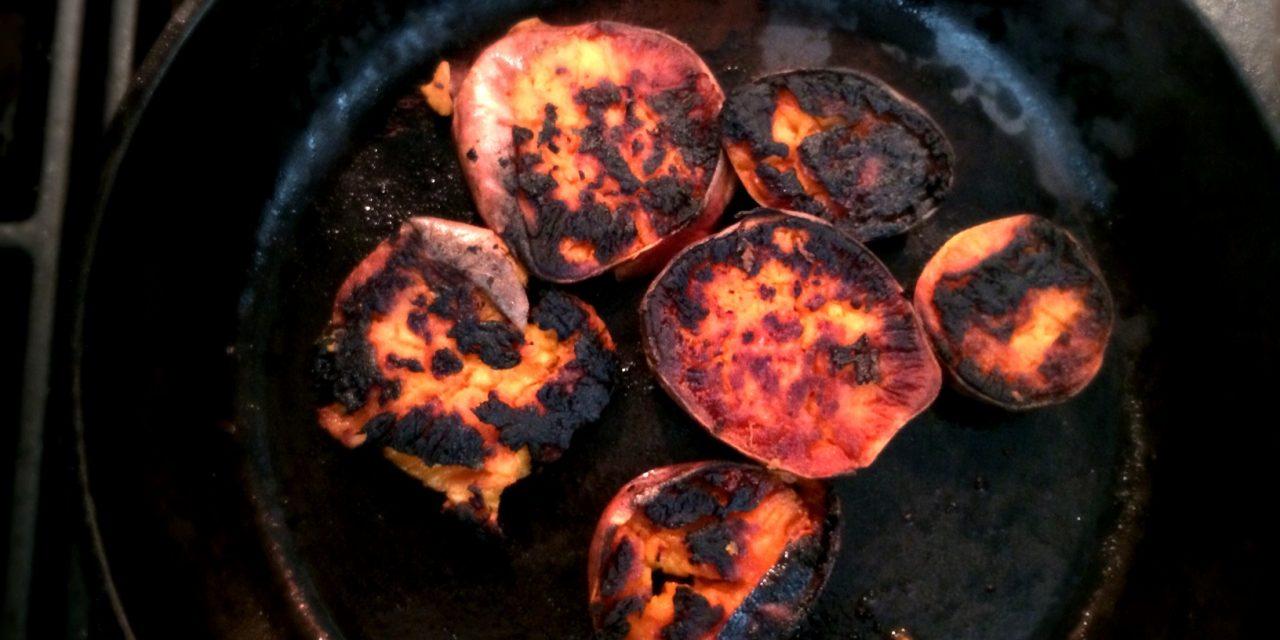 Skillet Smashed Sweet Potatoes
