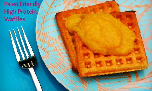 Paleo/Keto Friendly, Grain Free Coconut Flour Waffles with Mango Puree