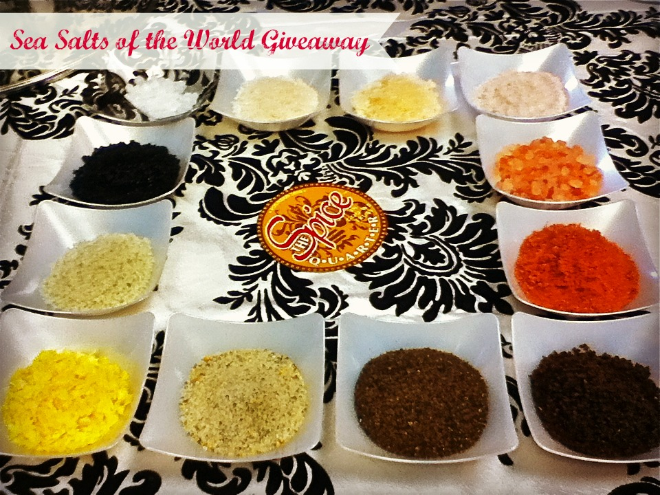 This giveaway includes 12 sea salts from around thwe world and a Himalayan Salt plank.
