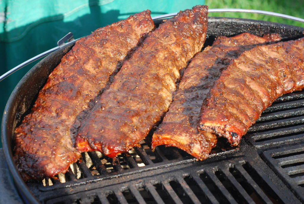 Korobuta Ribs on the Indirect heat side of the Weber Kettle