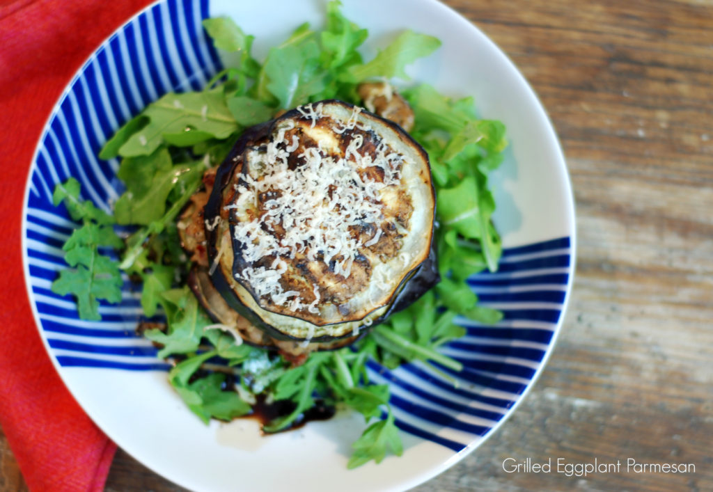 Grilled Eggplant Parm is a healthier, tasty alternative to traditional Eggplant parm where the eggplant is battered and fried. This is also gluten free