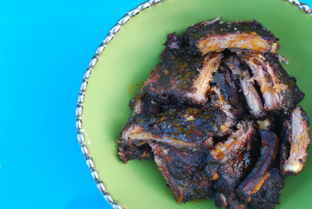 These beautiful ribs were finished with Chris Hart's guava glaze for a sweet finish to the fiery Jamaican Jerk.